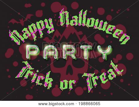 Happy Halloween party lettering retro poster. Zombie green letters Trick or Treat on bloody dark background with skull