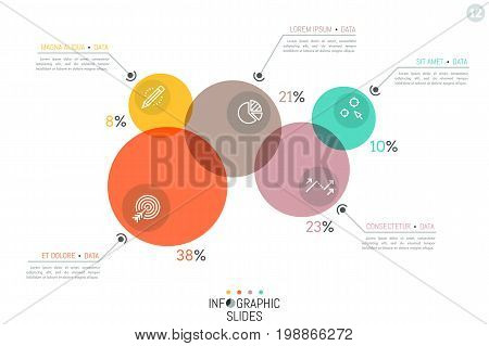 Unique infographic design layout, 5 overlapping translucent circular elements of different size, icons and text boxes. Proportion visualization concept. Vector illustration for presentation, report.