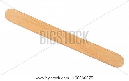 Wooden ice cream stick on white background