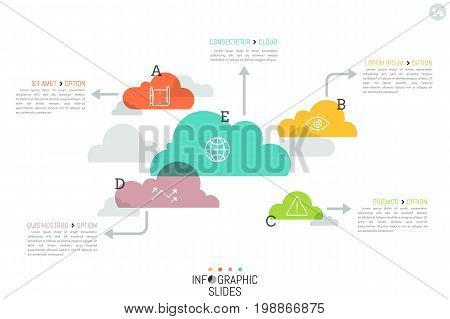 Modern infographic design layout, 5 separated translucent clouds of different size with arrows pointing at text boxes. Data storage concept. Vector illustration for presentation, website, brochure.