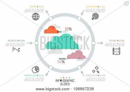 Infographic design template, clouds surrounded by 6 elements connected with pictograms and text boxes by arrows pointing inward and outward. File storage visualization concept. Vector illustration.