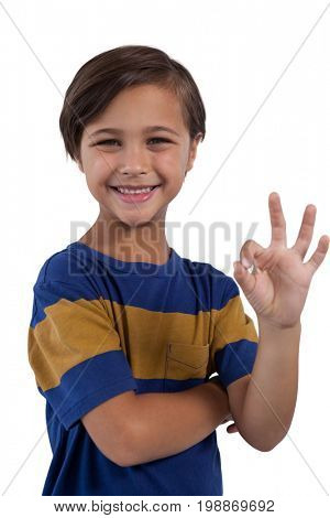 Smiling cute boy gesturing okay hand sign