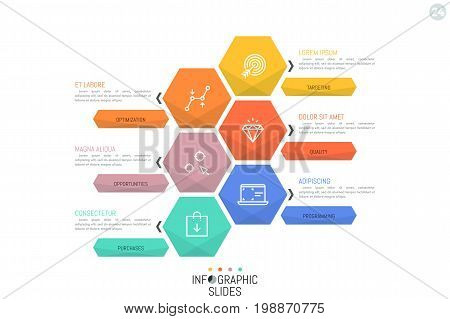 Simple infographic design layout. Six multicolored hexagonal elements, pictograms and arrows pointing at text boxes. Corporate website menu concept. Vector illustration for presentation, brochure.