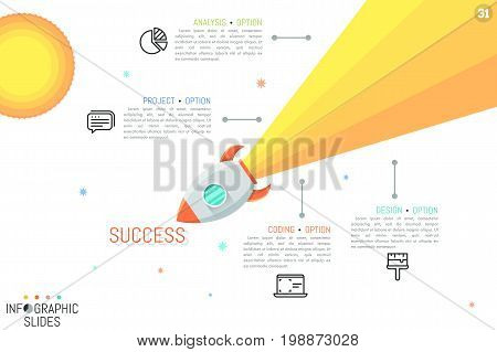 Colorful infographic design template. Spacecraft flying in outer space, pictograms and text boxes. Features of successful business development concept. Vector illustration for presentation, banner.