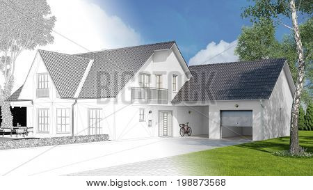 Planning of single family home with garage as CAD wireframe and 3D Rendering