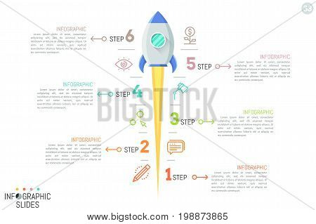 Simple infographic design layout with vertical spaceship launch, line icons and 6 numbered text boxes arranged in staggered way. Six features of successful business project start. Vector illustration.