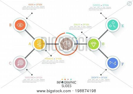 Minimal infographic design template. Central circular element connected with 6 lettered circles and text boxes by lines. Social map, website scheme, arrangement of links concept. Vector illustration.