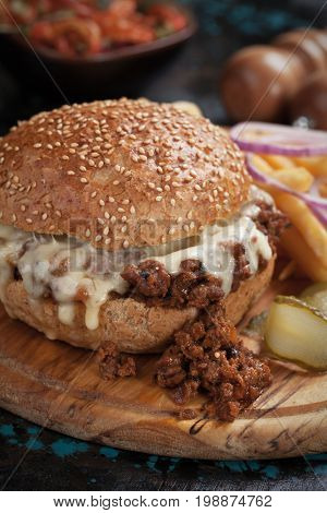 Sloppy joes ground beef burger sandwich with cheese