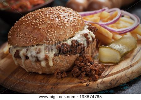 Sloppy joes ground beef and cheese burger sandwich