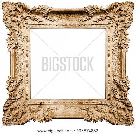 Ancient frame isolated on white background, Clipping path