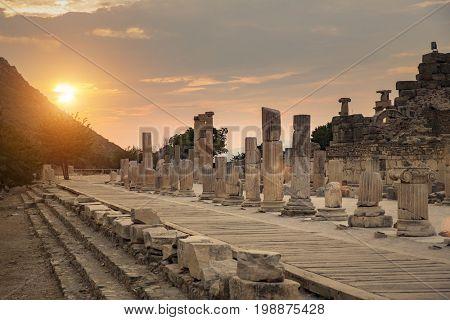 Sunset in ancient ruins of Ephesus Turkey