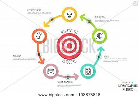 Infographic design template. Round chart with target surrounded by five circular multicolored elements connected by arrows, linear pictograms and text boxes. Vector illustration for presentation, ad.