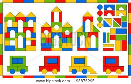 Children s Designer. Multicolored building kit. Developing game for children. Buildings and vehicles from simple blocks. Flat bright set of parts and finished products. Vector illustration