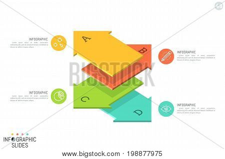 Simple infographic design template. Four lettered elements in shape of flat arrows placed one above other and pointing at different sides. 4 possible destinations concept. Vector illustration for ad.