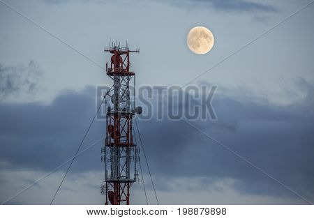 Radio tower and a moon on the island of Helgoland