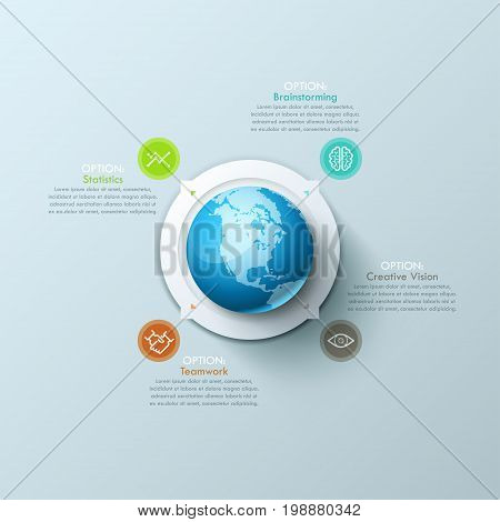 Creative Infographic design template with planet Earth in center, 4 arrows pointing at thin line icons and text boxes. Four characteristics of modern global business processes. Vector illustration.