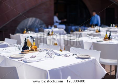 Served table set at restaraunt in New York