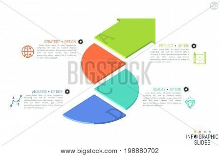 Simple infographic design template. Flat curved arrow divided into 4 parts with letters, linear icons and text boxes. Direction pointer concept. Vector illustration for brochure, poster, website.