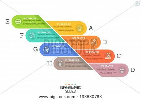 Simple infographic design template with colorful rounded elements divided into 8 lettered parts. Eight features of business process concept. Vector illustration for website, presentation, report.