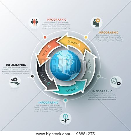 Unusual infographic design template with 5 colorful arrows located around sphere, icons and text boxes. Steps of successive international development concept. Vector illustration for presentation.