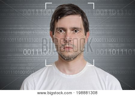 Face Detection And Recognition Of Man. Computer Vision Concept.