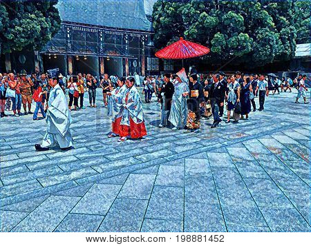 Digital painting of a Japanese wedding procession with the priest leading and the bride and groom walking under a parasol at a shrine in Tokyo Japan