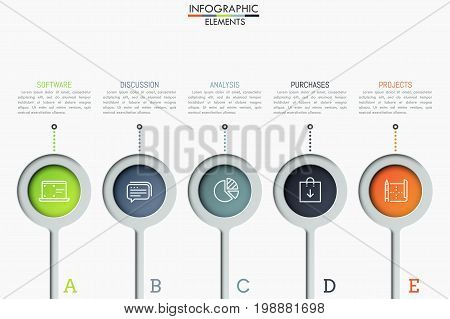 Five separate round elements with thin line icons inside and text boxes. Steps to software product release concept. Creative infographic design layout. Vector illustration for website, presentation.