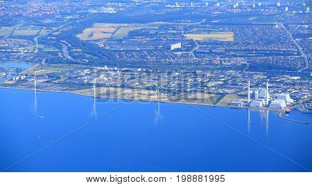 Industrial european district. Atomic power plant at the seashore in Brussels. Aerial view.