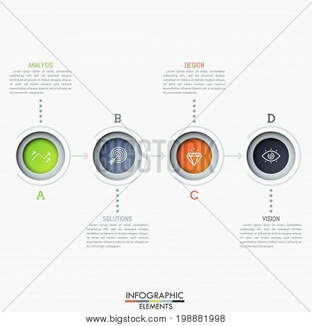 Four lettered circular elements connected by arrows, pictograms and text boxes. Successive steps to business prosperity. Modern infographic design template. Vector illustration for website, report.