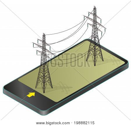 Vector high voltage pylons in mobile phone, isometric perspective. 3d metal pole voltage, isolated background. Power line pylons communication technology paraphrase. Power plant equipment illustration