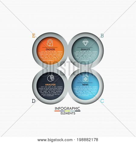 Four multicolored circular elements with icons and text boxes inside, 4 steps of business analysis concept. Creative infographic design template. Vector illustration for website, brochure, report.