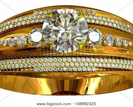 One engagement gold ring with gem. luxury jewellery bijouterie with gemstone for people in love . Frontal view large gems center and small gemstone on sideson isolated. 3D rendering of finger ring.