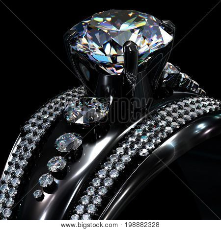 Black gold engagement ring with diamond gem. Luxury jewellery bijouterie with rhodium or ruthenium coating with gemstone. 3D rendering. Dark background.
