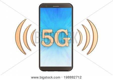 5G concept with phone 3D rendering isolated on white background