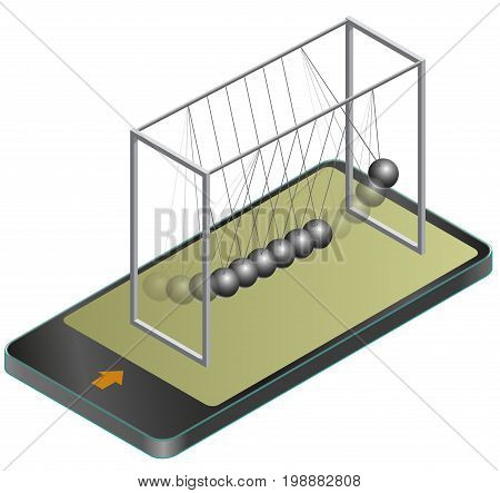 Vector Newton swing in mobile phone, in isometric perspective. Pendulum cradle metal bolls signals in communication technologies, paraphrase. Isolated on white background. Low poly master illustration