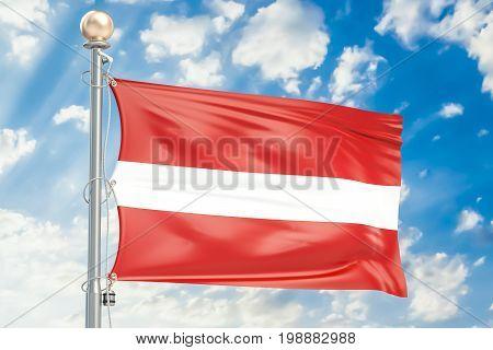 Latvian flag waving in blue cloudy sky 3D rendering