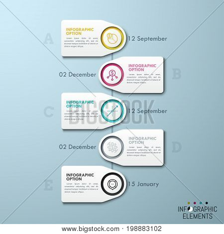 Vertical timeline with 5 lettered elements, icons, headings, text boxes and date indication. Modern infographic design template. Business planner and appointment manager concept. Vector illustration.