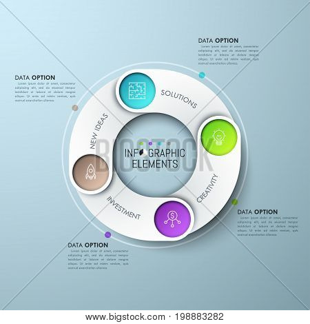 Circular chart with 4 rounded overlaying elements, linear symbols and text boxes. Four steps of work cycle concept. Creative infographic design template. Vector illustration for presentation, website.