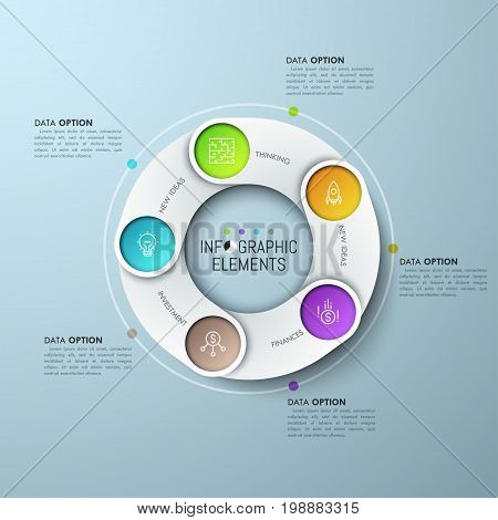 Ring-shaped chart with 5 overlapping elements, thin line pictograms and text boxes. Five successive steps of of idea creation and realization concept. Infographic design layout. Vector illustration.