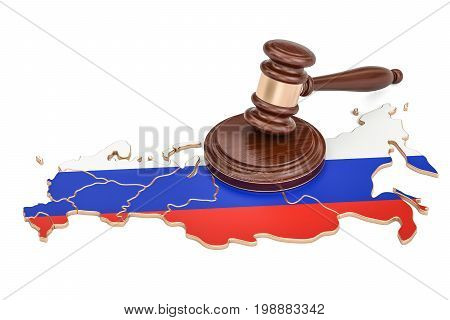 Wooden Gavel on map of Russia 3D rendering isolated on white background