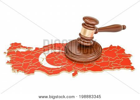 Wooden Gavel on map of Turkey 3D rendering isolated on white background