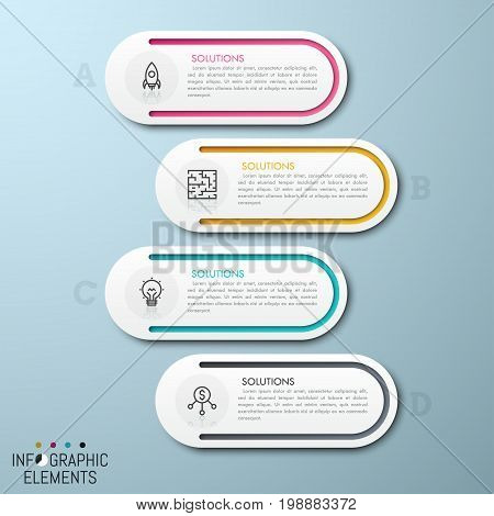 4 separate rounded elements placed one under other with thin line pictograms and text boxes inside. List with four options concept. Modern infographic design template. Vector illustration for report.