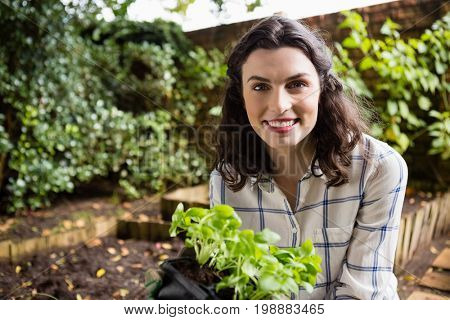 Portrait of smiling woman holding sapling plant in garden