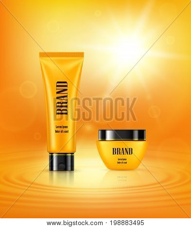 Vector 3D illustration in a realistic style, poster with anti-aging cosmetic premium products, light background with beautiful yellow tube and jar on a yellow background with a light effect
