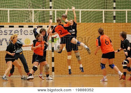 KAPOSVAR, HUNGARY - MAY 18: Unidentified players in action at Hungarian Handball National Championship I/B. match (Nagyatad vs. Szombathely) May 18, 2007 in Kaposvar, Hungary.