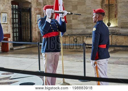 SANTO DOMINGO DOMINICAN REPUBLIC - MARCH 24 2017: Changing of the Honor Guard inside National Pantheon of the Dominican Republic. The country's most famous persons are honored here.
