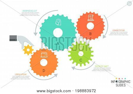 4 gear wheels with icons inside, arrows showing direction of their movement, hand that causes motion of mechanism and text boxes. Simple infographic design template. Vector illustration for brochure.