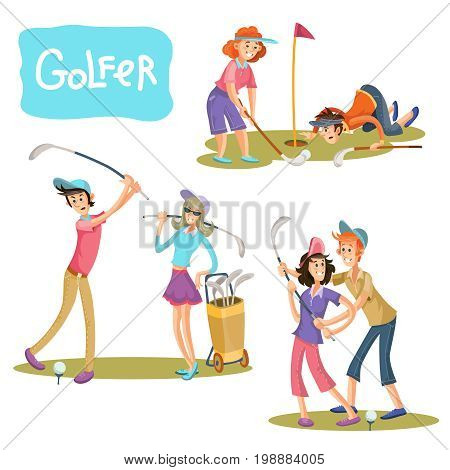 Set of vector illustrations of golf games. A guy and a girl on a playing field with sticks for a golf player in a cartoon style isolated on white background.