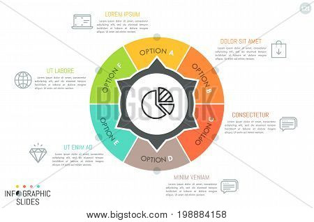 Round diagram divided into 6 lettered sectors with arrows pointing at text boxes and symbols. Simple infographic design layout. Features of services provided by company concept. Vector illustration.