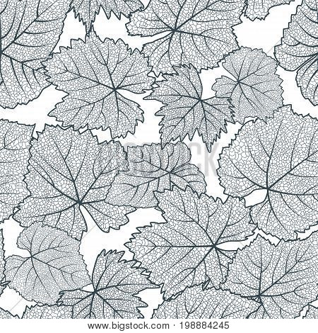 Vector seamless pattern with hand drawn grape textured leaves. Black and white autumn nature background. Design for wine list winery label package wrapping paper or textile print.